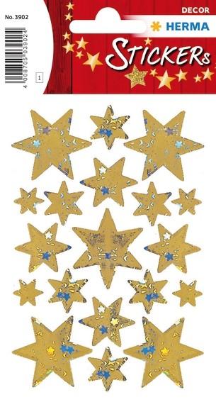 HERMA 3902 10x Sticker DECOR Sterne 6-zackig, gold, Holographie