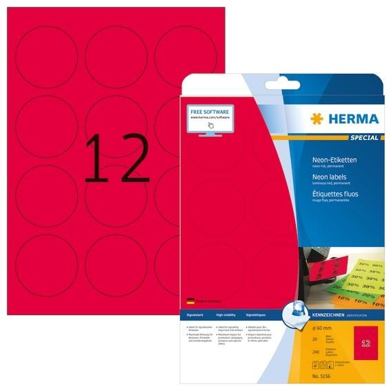 HERMA 5156 Neonetiketten A4 Ø 60 mm rund neon-rot Papier matt 24