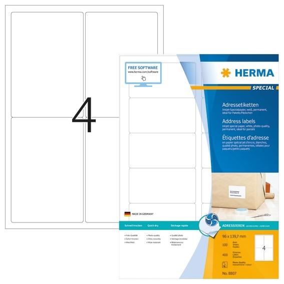 HERMA 8807 Inkjet Adressetiketten A4 96x139,7 mm weiß Papier mat