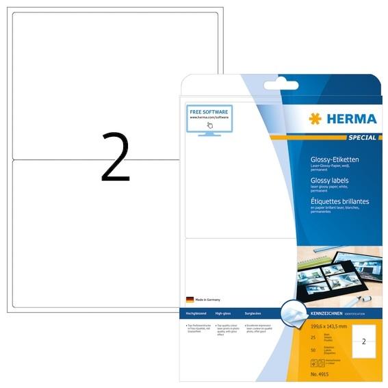 HERMA 4915 Etiketten A4 199,6x143,5 mm weiß Papier glänzend 50 S