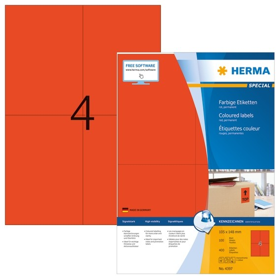 HERMA 4397 Farbige Etiketten A4 105x148 mm rot Papier matt 400 S