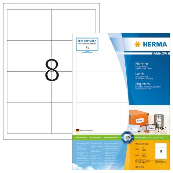 HERMA 4280 Etiketten Premium A4 97x67,7 mm weiß Papier matt 800