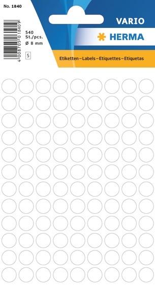 HERMA 1840 Vielzwecketiketten Ø 8 mm rund weiß Papier matt 5400