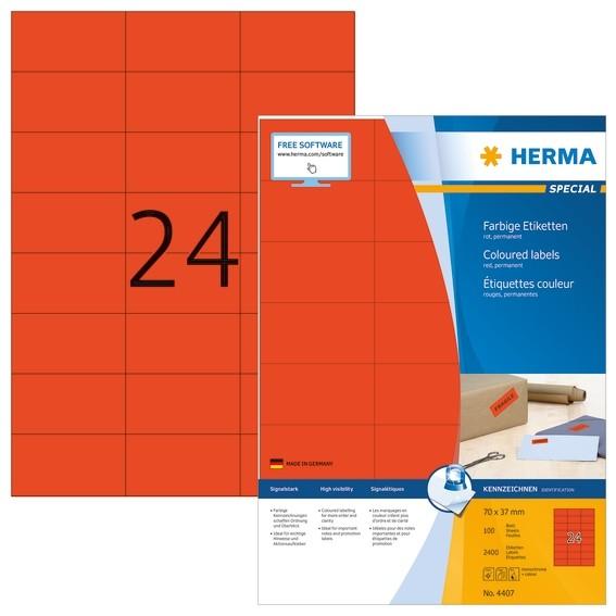 HERMA 4407 Farbige Etiketten A4 70x37 mm rot Papier matt 2400 St