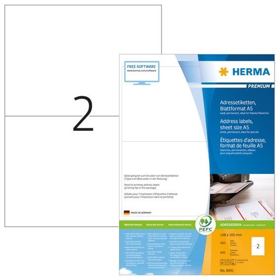 HERMA 8691 Adressetiketten Premium Blattformat A5 105x148 mm wei
