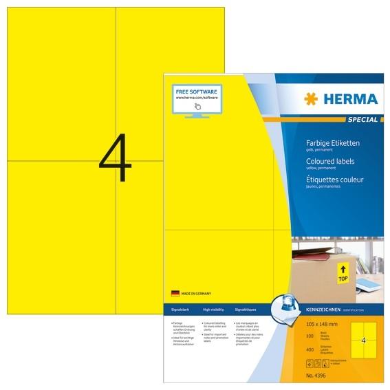 HERMA 4396 Farbige Etiketten A4 105x148 mm gelb Papier matt 400