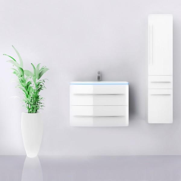 Midori Badmöbel Set Hochschrank Rechts Weiß Hochglanz 70 cm