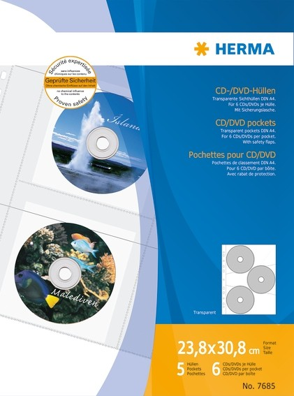 HERMA 7685 CD/DVD-Hüllen, 306,5x233 mm 5 Hüllen