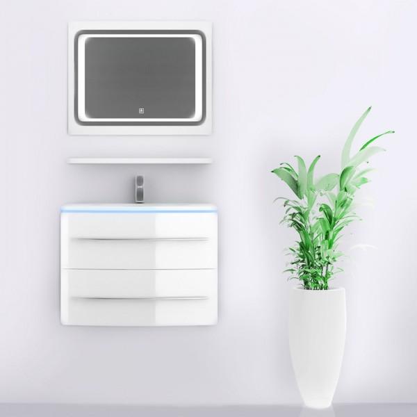 Midori Badmöbel Set Waschbecken Spiegel Weiß Hochglanz 70 cm