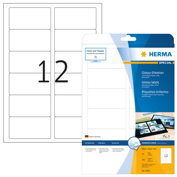 HERMA 4906 Etiketten A4 88,9x46,6 mm weiß Papier glänzend 300 St