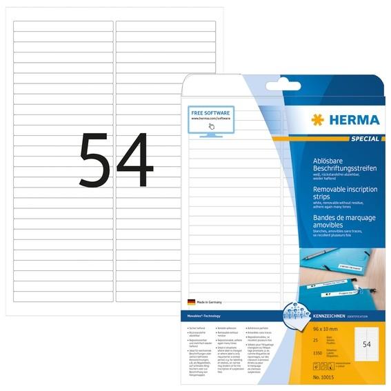 HERMA 10015 Ablösbare Beschriftungsstreifen A4 96x10 mm weiß Mov
