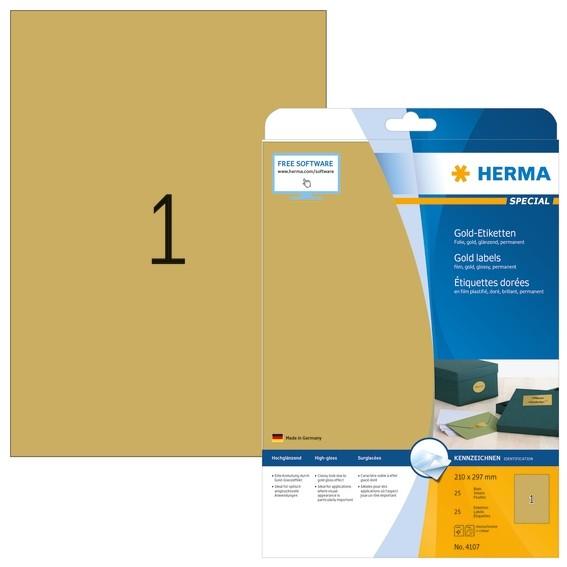 HERMA 4107 Etiketten A4 210x297 mm gold Folie glänzend 25 St.