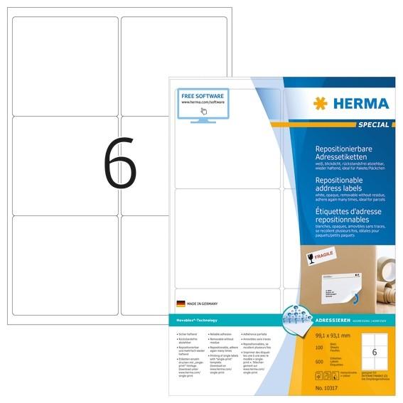 HERMA 10317 Repositionierbare Adressetiketten A4 99,1x93,1 mm we