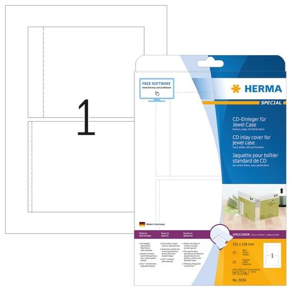 HERMA 5036 CD-Einleger für Jewelcase A4 151x118 mm weiß Karton p