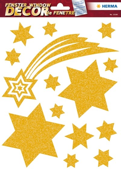 HERMA 15109 5x Fensterdecor Sterne Gold