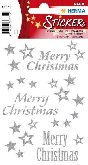 HERMA 3731 10x Sticker MAGIC Merry Christmas, glittery