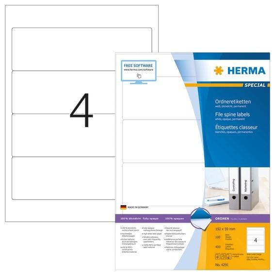 HERMA 4291 Ordneretiketten A4 192x59 mm weiß Papier matt blickdi