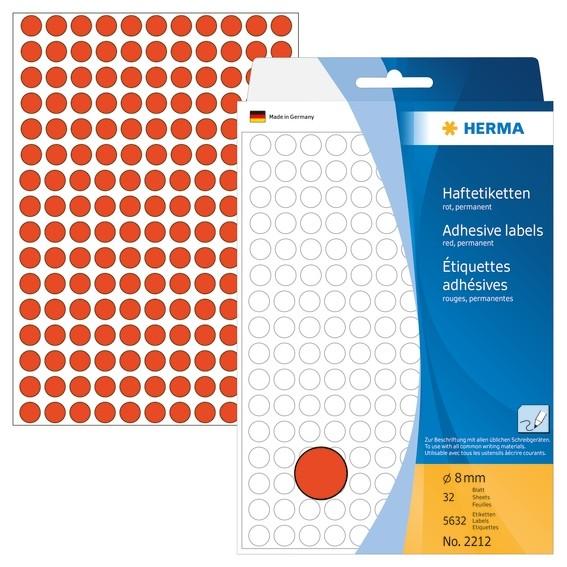 HERMA 2212 Vielzwecketiketten/Farbpunkte Ø 8 mm rund rot Papier