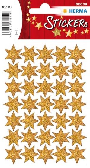 HERMA 3911 10x Sticker DECOR Sterne 6-zackig, gold, beglimmert,