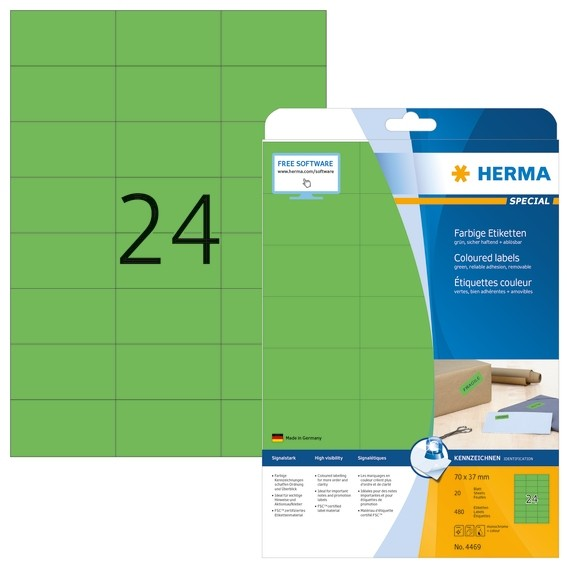 HERMA 4469 Farbige Etiketten A4 70x37 mm grün ablösbar Papier ma
