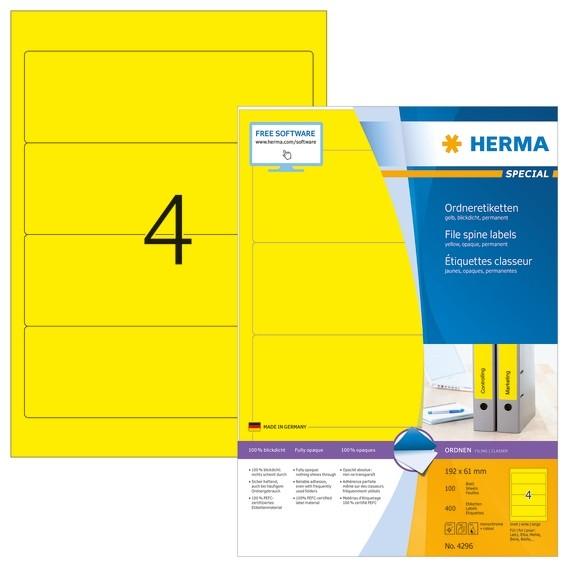 HERMA 4296 Ordneretiketten A4 192x61 mm gelb Papier matt blickdi