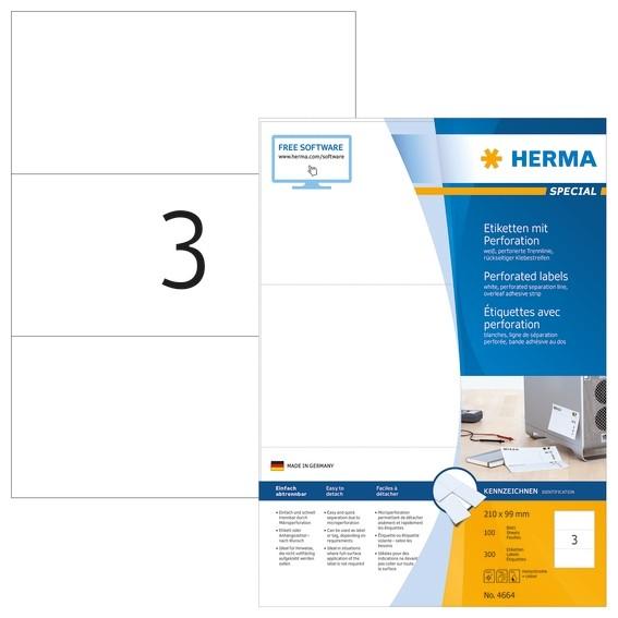 HERMA 4664 Etiketten A4 210x99 mm weiß perforiert Papier matt 30