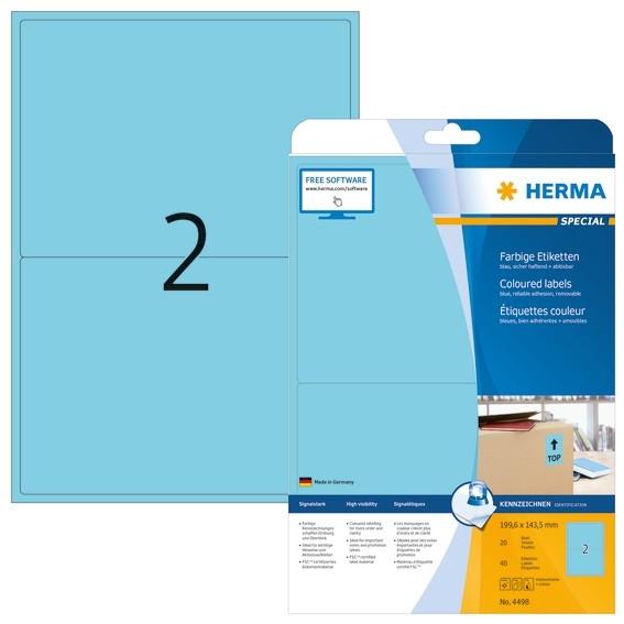 HERMA 4498 Farbige Etiketten A4 199,6x143,5 mm blau ablösbar Pap