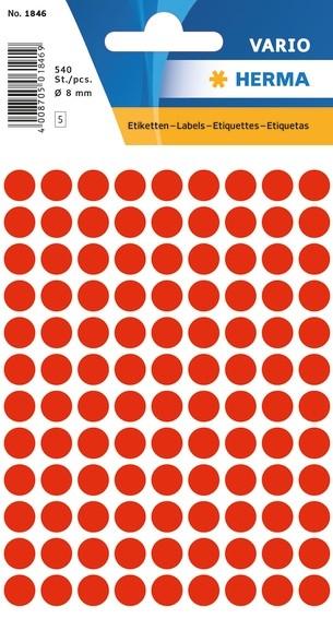 HERMA 1846 Vielzwecketiketten Ø 8 mm rund leuchtrot Papier matt