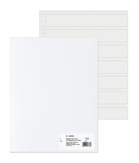 HERMA 7767 Negativhüllen, transparent, für 7 x 5 Streifen, 100 S