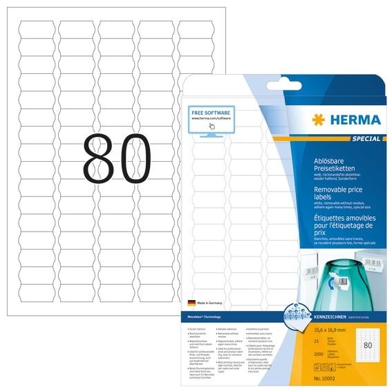 HERMA 10002 Preisetiketten A4 35,6x16,9 mm weiß Movables/ablösba