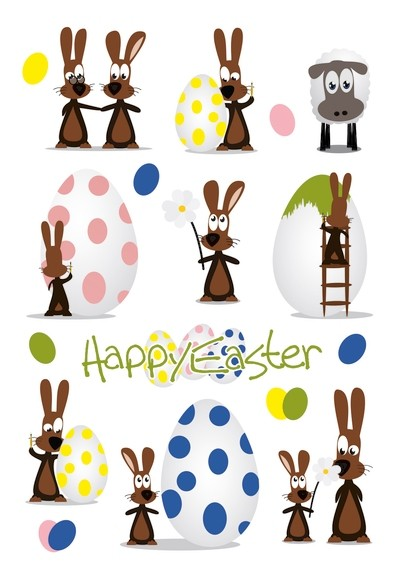 HERMA 1729 10x Sticker DECOR Happy Easter Hasenparty