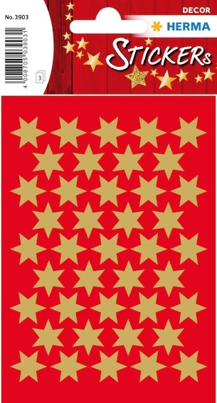 HERMA 3903 10x Sticker DECOR Sterne 6-zackig, gold Ø 14 mm