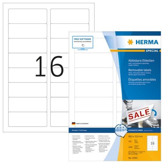 HERMA 10303 Ablösbare Etiketten A4 88,9x33,8 mm weiß Movables/ab