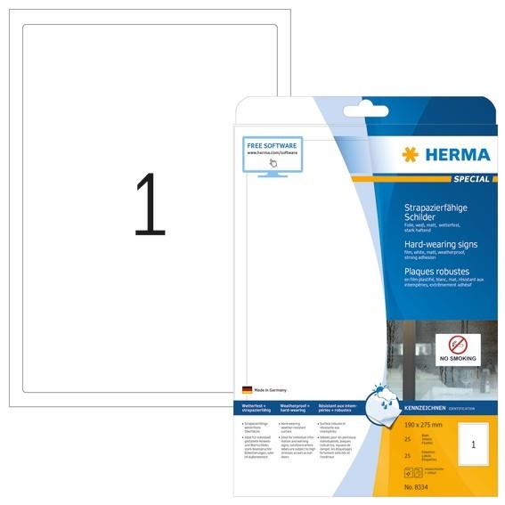 HERMA 8334 Schilder strapazierfähig A4 190x275 mm weiß stark haf