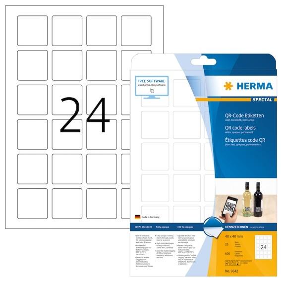HERMA 9642 QR-Code Etiketten A4 40x40 mm quadratisch weiß Papier