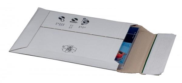 Kartonversandtasche 145 x 190 x 25 mm CD mit Aufreißfaden & Selbstklebeverschluss Weiß