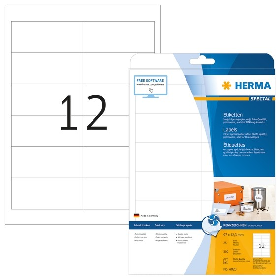 HERMA 4823 Inkjet-Etiketten A4 97x42,3 mm weiß Papier matt 300 S