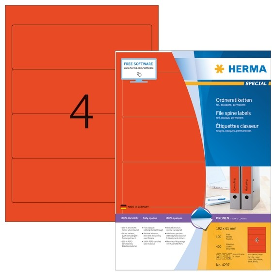 HERMA 4297 Ordneretiketten A4 192x61 mm rot Papier matt blickdic
