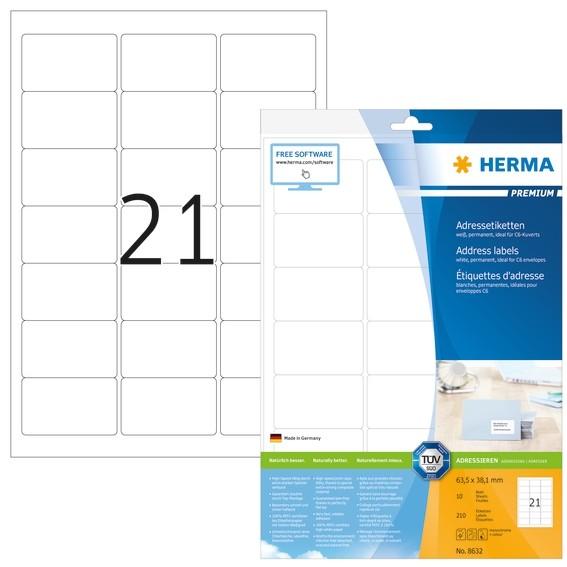 HERMA 8632 Adressetiketten Premium A4 63,5x38,1 mm weiß Papier m