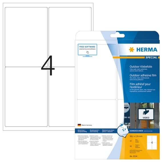 HERMA 9534 Etiketten A4 Outdoor Klebefolie 99,1x139 mm weiß extr