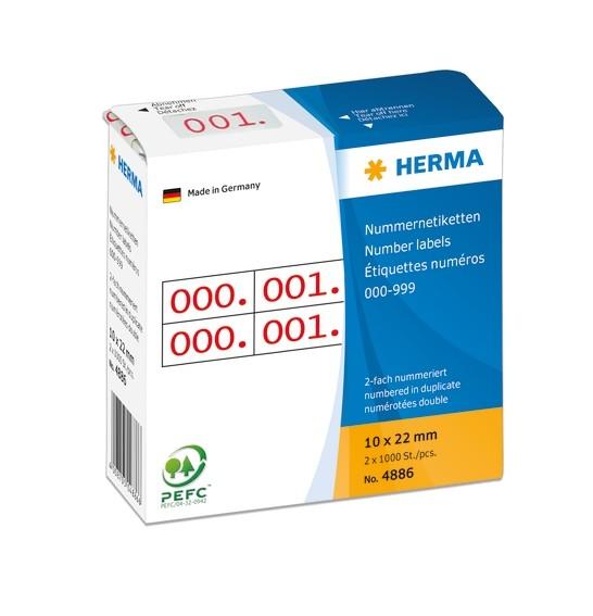 HERMA 4886 Nummernetiketten doppelt selbstklebend 10x22 mm Aufdr