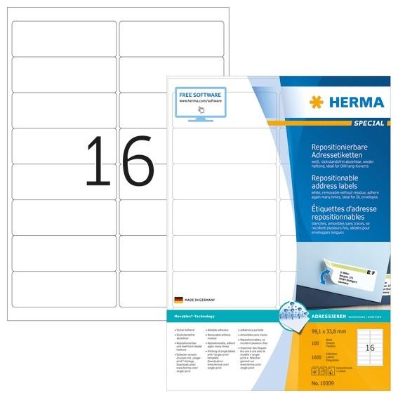 HERMA 10309 Repositionierbare Adressetiketten A4 99,1x33,8 mm we