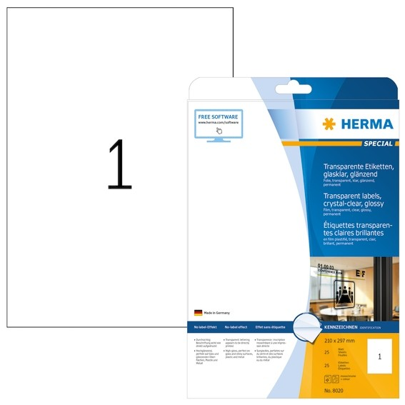 HERMA 8020 Etiketten transparent glasklar A4 210x297 mm transpar