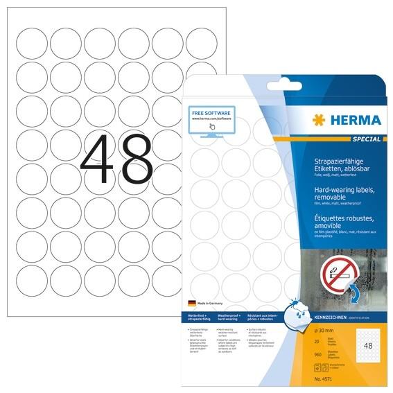 HERMA 4571 Wetterfeste Folien-Etiketten A4 Ø 30 mm ablösbar weiß