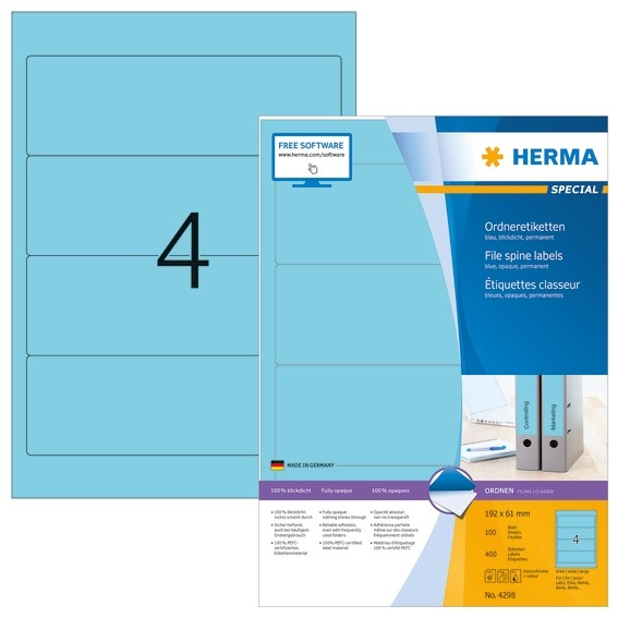HERMA 4298 Ordneretiketten A4 192x61 mm blau Papier matt blickdi