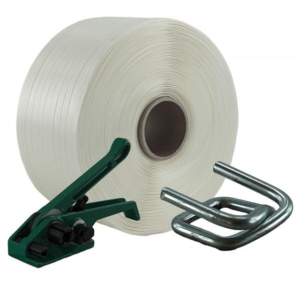 19 mm Textil Umreifung Set Umreifungsband Bandspanner Metallklem
