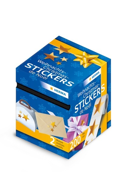 HERMA 15132 Weihnachtssticker, Sterne, 200 Sticker auf Rolle, au
