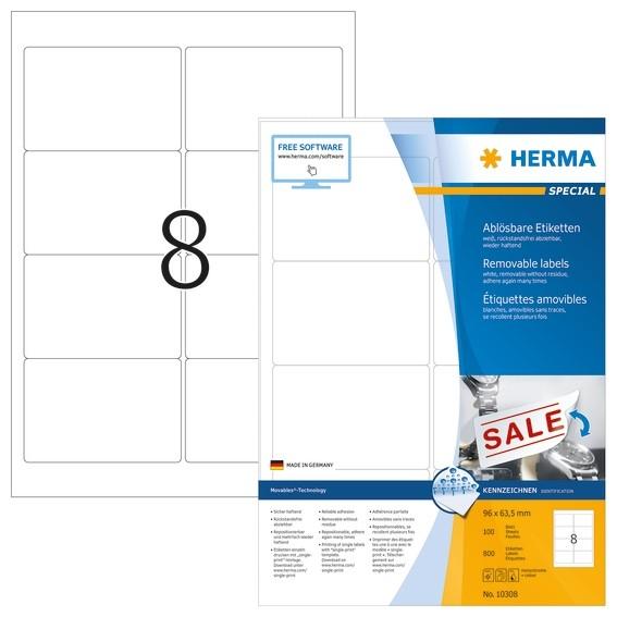 HERMA 10308 Ablösbare Etiketten A4 96x63,5 mm weiß Movables/ablö