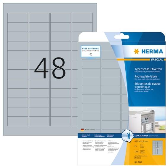 HERMA 4221 Typenschildetiketten A4 45,7x21,2 mm silber extrem st