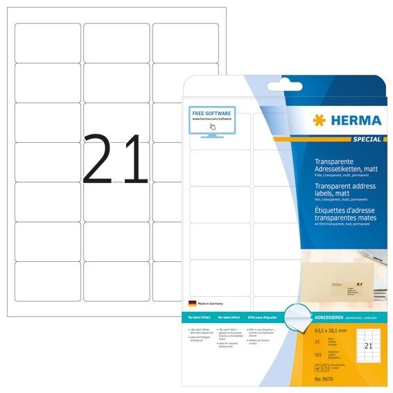 HERMA 8670 Adressetiketten transparent matt A4 63,5x38,1 mm rund